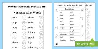 250 free phonics worksheets covering all 44 sounds, reading, spelling, sight words and sentences! Phonics Screening Practice Homework List 3 Teacher Made