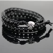 skull double leather wrap bracelet kit black
