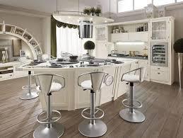 kitchen teak wood cabinet white ceramic tile floor espresso wooden bar stool white cushioned metal
