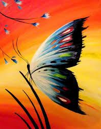 Beginner canvas painting idea of colorful butterfly and golden sunset sky.  We host painting events at local bars. Come join us for a Paint Nite Party!