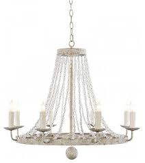 farrah distressed white 8 light chandelier with beads