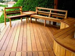 wooden deck featured benches with backs for