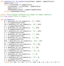 Basic Program To Convert Integer To Roman Numerals Stack