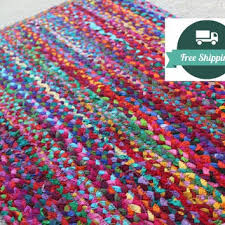 rug braided bright cotton rag rug eco friendly vegan rag rugs orgainc non