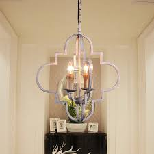 classic farmhouse chandelier with metal cage distressed white quatrefoil pendant