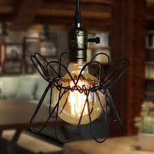 1pcs iron wire cage lampshade chandelier bird retro black bar coffee home hanging ornament decor