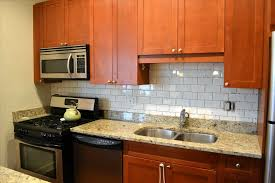 subway tile backsplash with cherry cabinets.  With Decorations Subway Tile Backsplash With Cherry Cabinets Cream Granite  Countertop And White The Foxcraft Inside Subway Tile Backsplash With Cherry Cabinets A