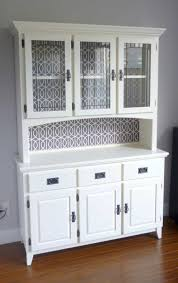 Kitchen Hutch Furniture In White Color With Glass Doors Useful