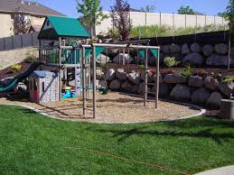 exterior: Funny Kids Nuance Of Cool Backyard Ideas Completed With Kids Play  Area Beautified With