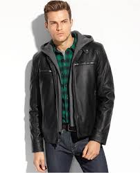 guess coats faux leather hooded moto jacket