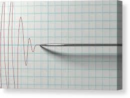 Chart Marking In Polygraph Polygraph Needle And Drawing Canvas Print