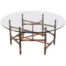 copper pipe and fitting sculpture base round glass top coffee table for