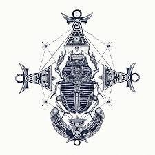 Vektorová Grafika Skarab Tetování Starověký Egypt Mytologie