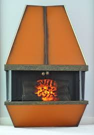 mid century electric fireplace orange retro 1970s by aligras 375 00 vintage
