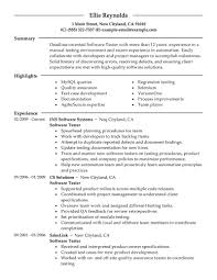 Software Tester Resume Sample Junior Manual Tester Resume Sample Entry Level Qa Testingor Years 5