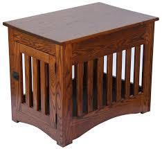 oak wooden dog crate end table