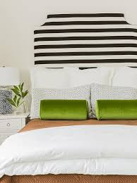 black and white and green bedroom. Black And White Striped Headboard With Green Velvet Bolster Pillows Bedroom