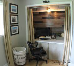 closet office. Interesting Double Curtain With Bulb Lamps As Well Black Swivel Office Chairs And White Hardwood Freestanding Desk In Custom Closet Ideas