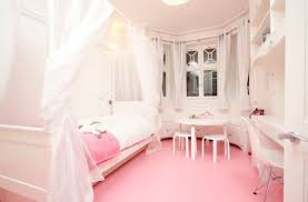 ... Contemporary girls' bedroom in pristine white and pretty pink