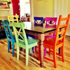 colorful painted furniture.  Painted Rustoleum Spraypainted Chairs  These Remind Me Of All The Colored Benches  At State Fair  On Colorful Painted Furniture