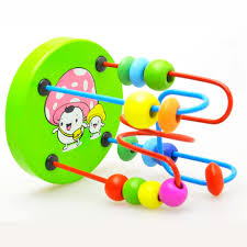 colorful wooden mini circular beads maze educational toy
