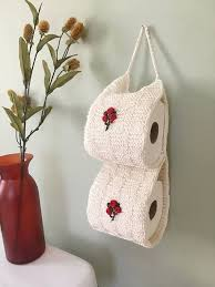 cozy paper holders. White Toilet Paper Holder, Bathroom Decor, Knit Crochet Cozy, Cozy Holders H