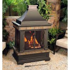 portable outdoor fireplace new sunjoy amherst 35 in wood burning outdoor fireplace