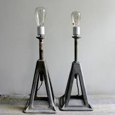 pair vintage industrial lamps ooak amazoncom furniture 62quot industrial wood