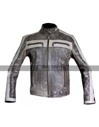 designer grey cafe racer motorcycle distressed leather jacket