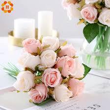 1 Bouquet <b>Artificial Rose Bouquet</b> Decorative Silk Flowers Bride ...