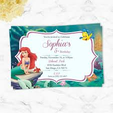 Little Mermaid Party Invitation Birthday Party Printable Invitation