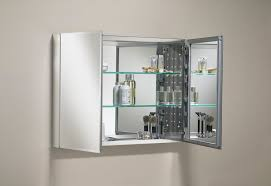 Modern Bathroom with Double Door Mirrored Aluminum Medicine Cabinet