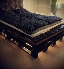 diy pallet bed frame with lights