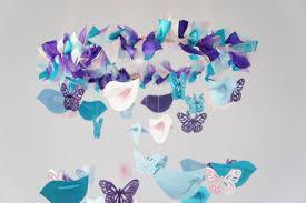Turquoise Baby Shower Decorations Nursery Mobile Blue Pink Purple Birds Butterflies Nursery
