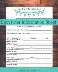 babysitter information sheet printable printable babysitter information sheet nanny information