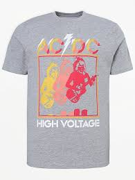 <b>AC</b>/<b>DC</b> Grey <b>High Voltage</b> T-Shirt | Men | George at ASDA