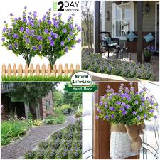 outdoor artificial flowers plants shrubs fake bushes plastic leaves 4 pack new