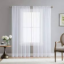 me white 54 inch x 95 inch window curtain sheer voile panels
