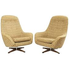 mid century modern swivel club chair lounge pair pod chairs brown tweed