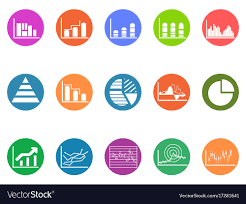 Graph Chart Round Button Icons Set