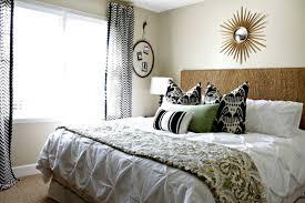 Interior:Marvelous Guest Room Design With Black Chevron Curtains Also  Sunburst Mirror Marvelous Guest Room