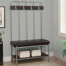 Metal Entryway Bench With Coat Rack Decor Metal Entryway Storage Bench And Coat Rack Plus Black Leather 1