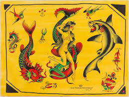 Ed Hardy Fish Design Don Ed Hardy Flash From 1997 Acrylic On Illustration Board