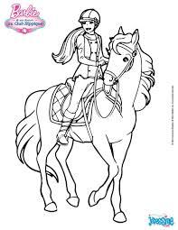 Coloriages Barbie Sur Son Cheval Fr Hellokids Pour Coloriage