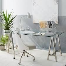 Glass top writing desk Laptop West Elm Crossbase Desk Polished Nickel West Elm