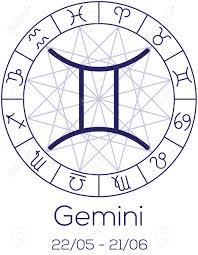 Zodiac Sign Gemini Astrological Symbol In Wheel With Polygonal