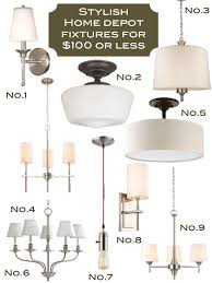 home depot 100 or less light fixtures