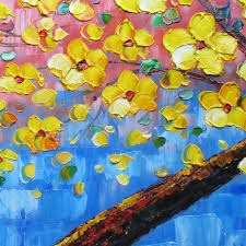 palette knife painting yellow tree wall decor flower oil painting on canvas yellow blue