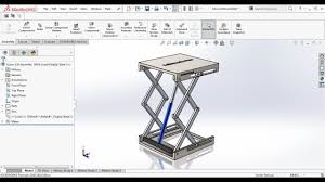 Hydraulic Cylinder Linkage Design Hydraulic Scissor Lift Assembly And Motion Study In Solidworks