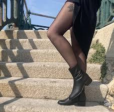 Ida Black Faux Leather Vegan Ankle Boots , Beyond Skin